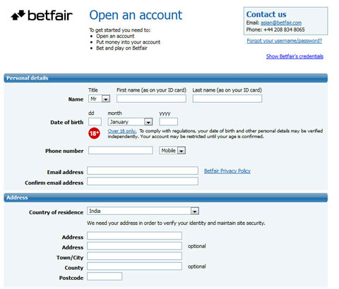 Betfair india signup for CLT