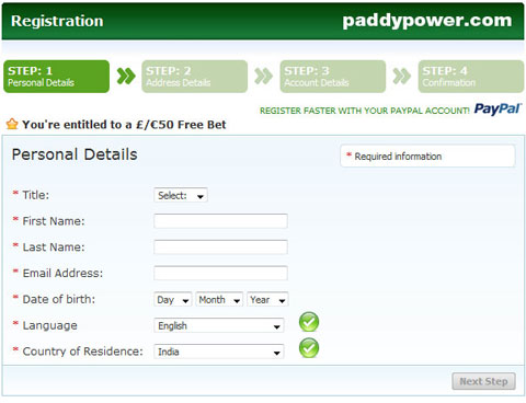 Paddypower india signup